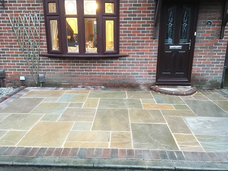 Autumn brown Indian stone block boarder driveway Wigan