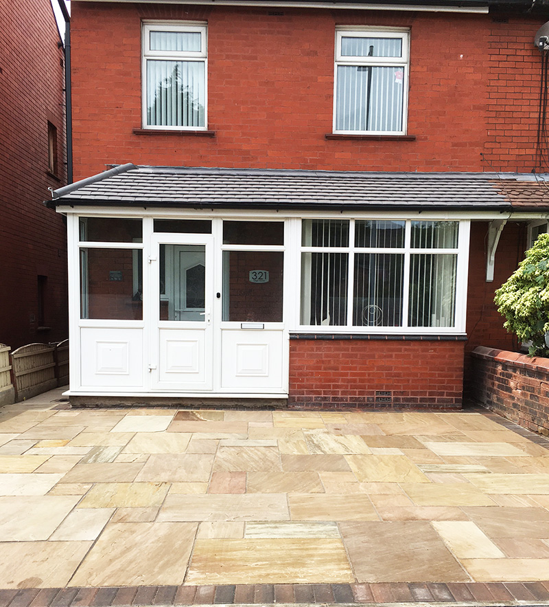 Autumn brown paved patio Leigh