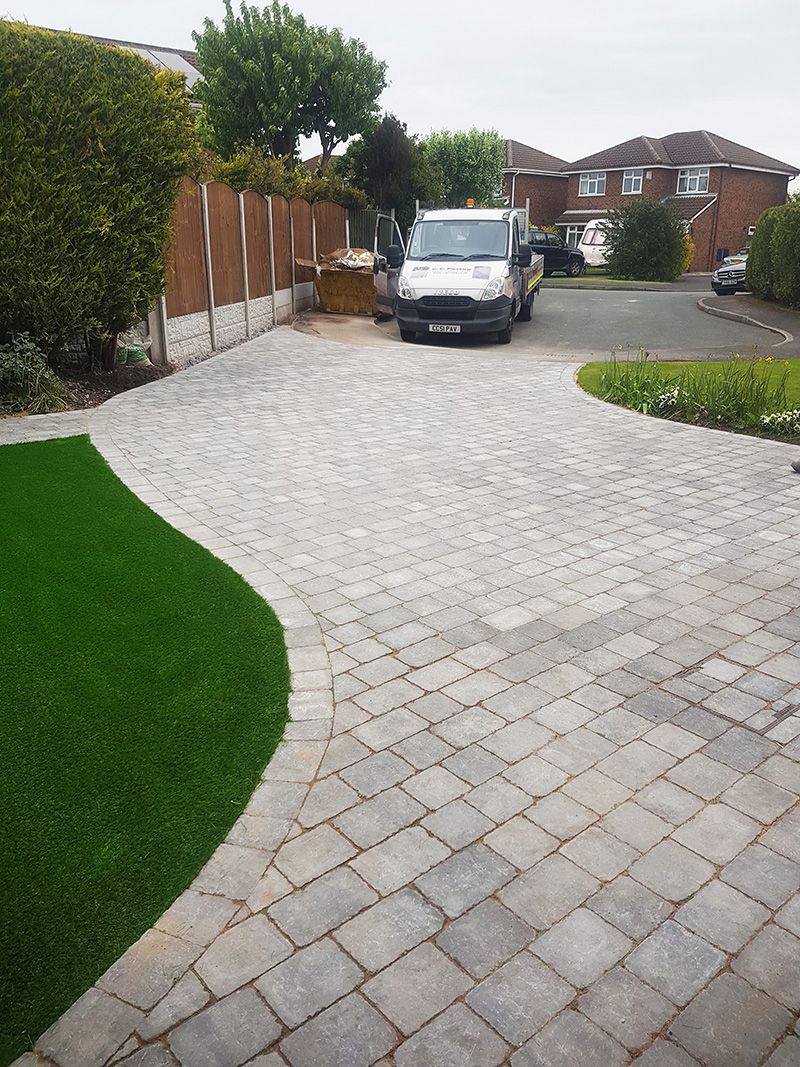 Granite stone Sorrento & artificial grass driveway Warrington