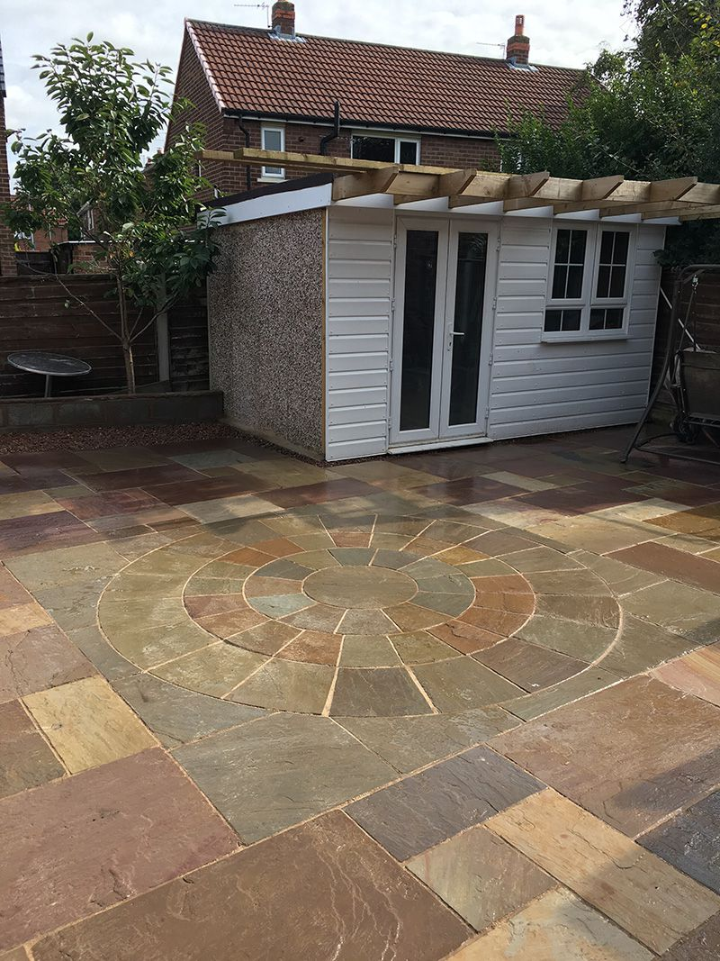 Patio Rainbow Indian stone with circular pattern Warrington