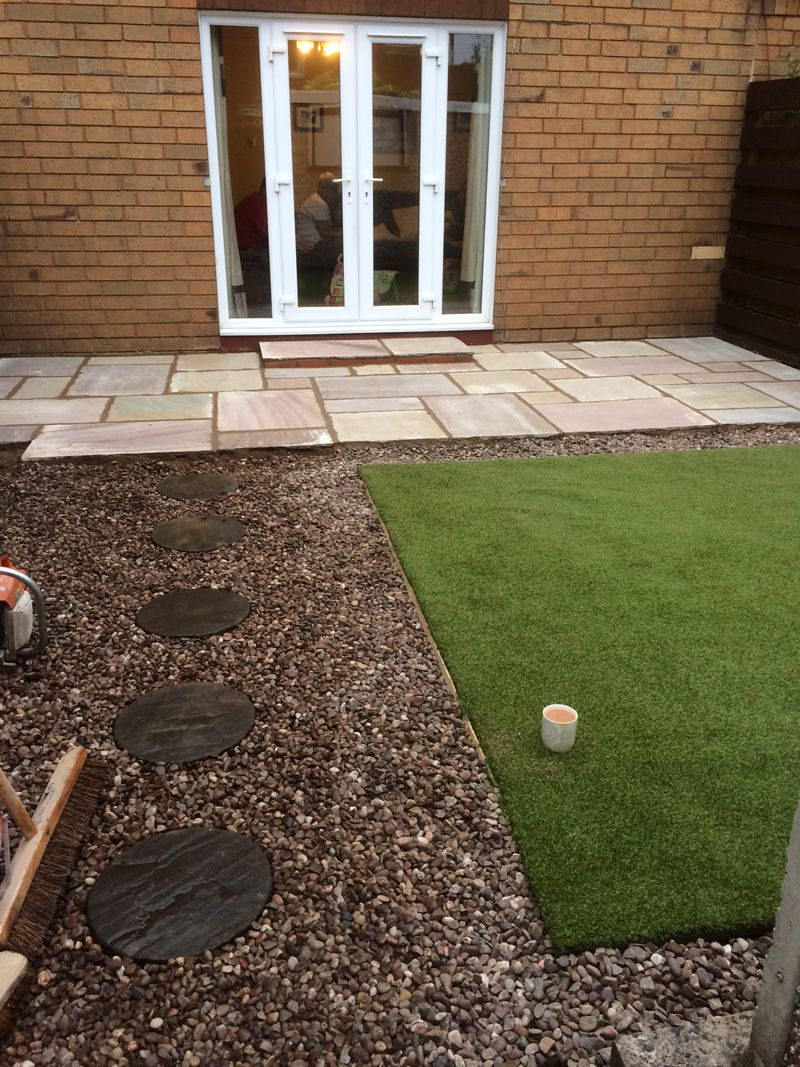 Indian stone and artificial lawn