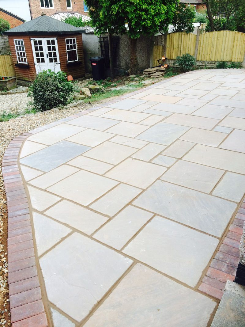 Indian stone with block border patio Leigh, Lancashire