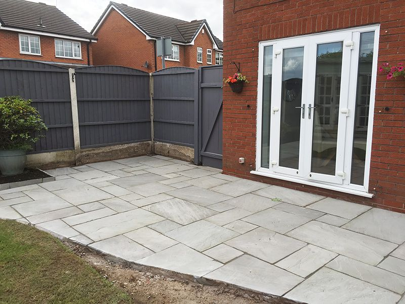 Dove grey Indian stone patio Tyldesley.