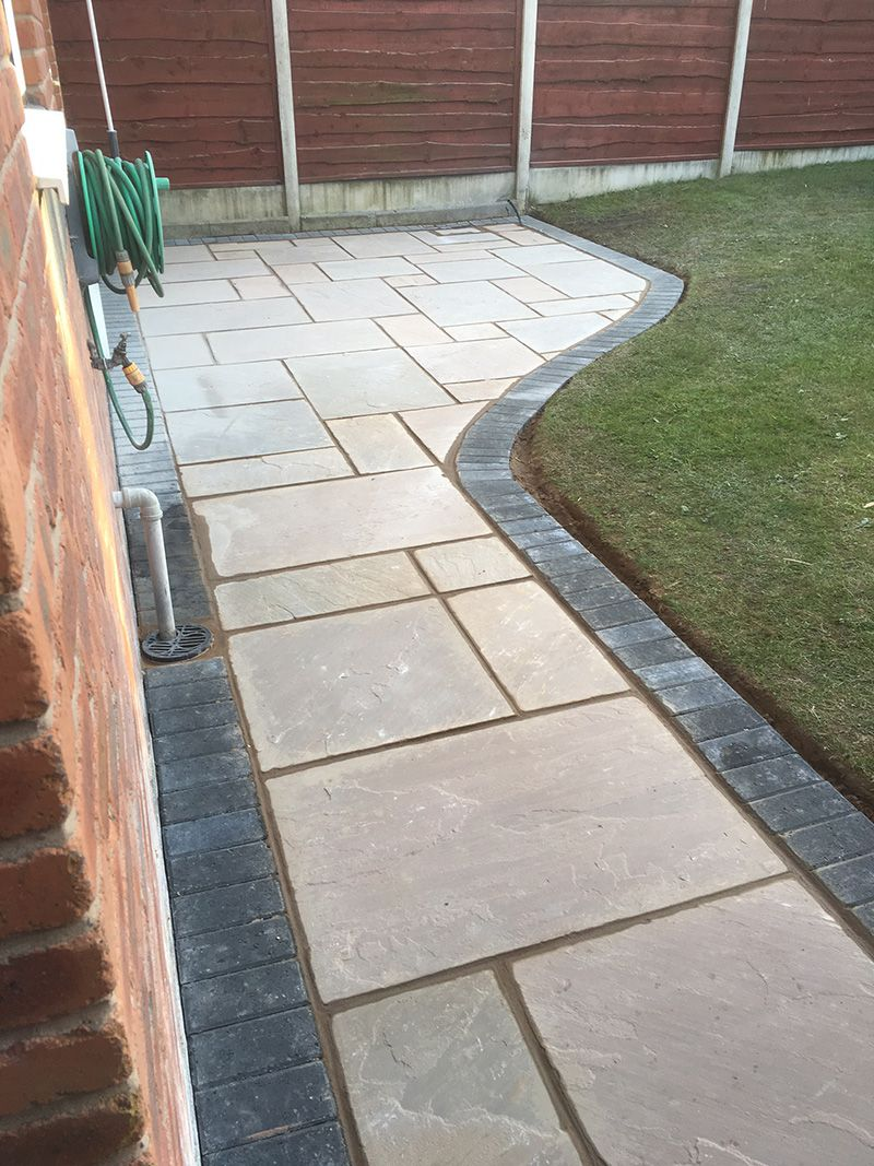 Indian stone with block border Wigan.